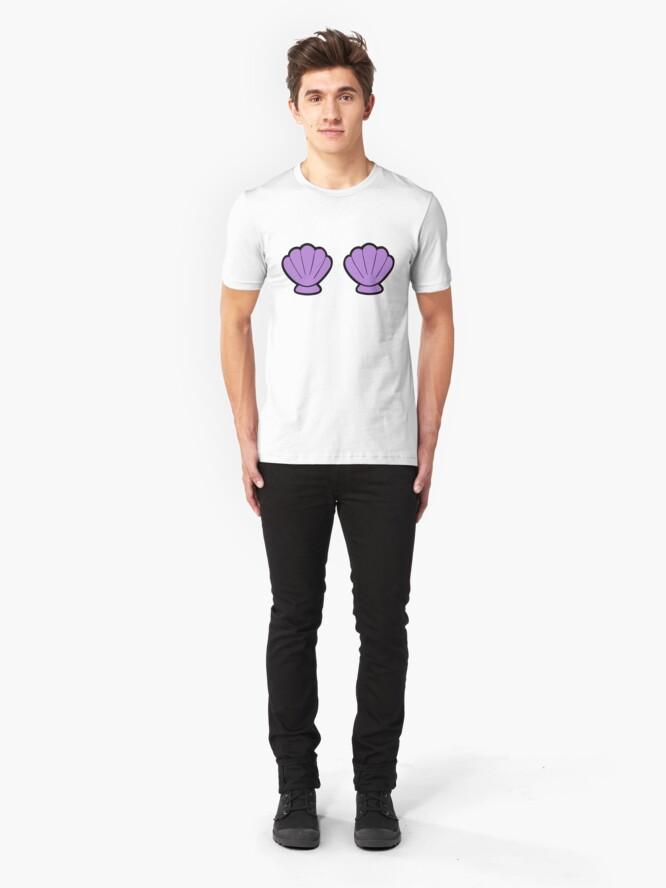 Alternate view of Mermaid Shells Bright Pattern Slim Fit T-Shirt