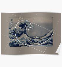 Hokusai Meets Fibonacci Poster