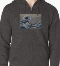 Hokusai Meets Fibonacci Zipped Hoodie