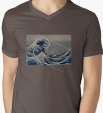 Hokusai Meets Fibonacci Men's V-Neck T-Shirt