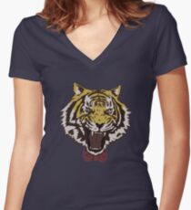 Yurio's Bow Tie Tiger Women's Fitted V-Neck T-Shirt