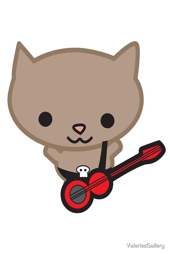 Kawaii Bassist Cat by ValeriesGallery