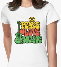 Reggae Peace-Love-Music Women's Fitted T-Shirt