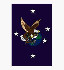 Eagle Globe and Anchor Retro Tattoo Photographic Print