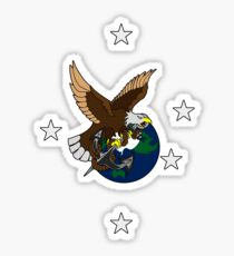 Eagle Globe and Anchor Retro Tattoo Sticker