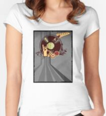 Rock Music Vinyl Record Collage 1 Women's Fitted Scoop T-Shirt