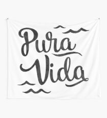 Pura Vida Waves in Black Wall Tapestry