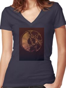 Vinyl Record Gold Explosion Women's Fitted V-Neck T-Shirt