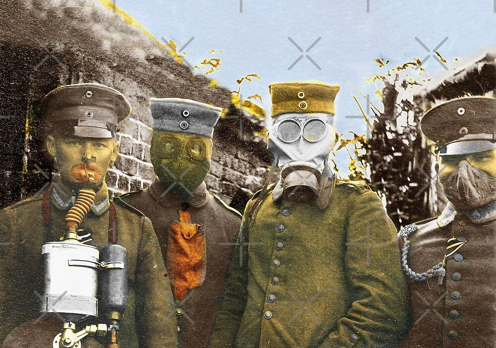 German Soldiers Modeling Gas Masks by diane  addis