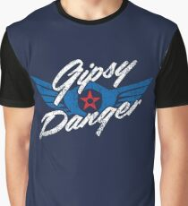 Gipsy Danger Distressed Logo in White Graphic T-Shirt