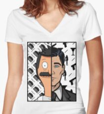 Trading Faces Women's Fitted V-Neck T-Shirt