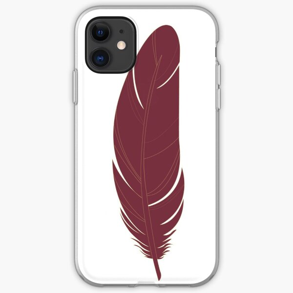Garnet and Gold Feather Pattern iPhone Soft Case