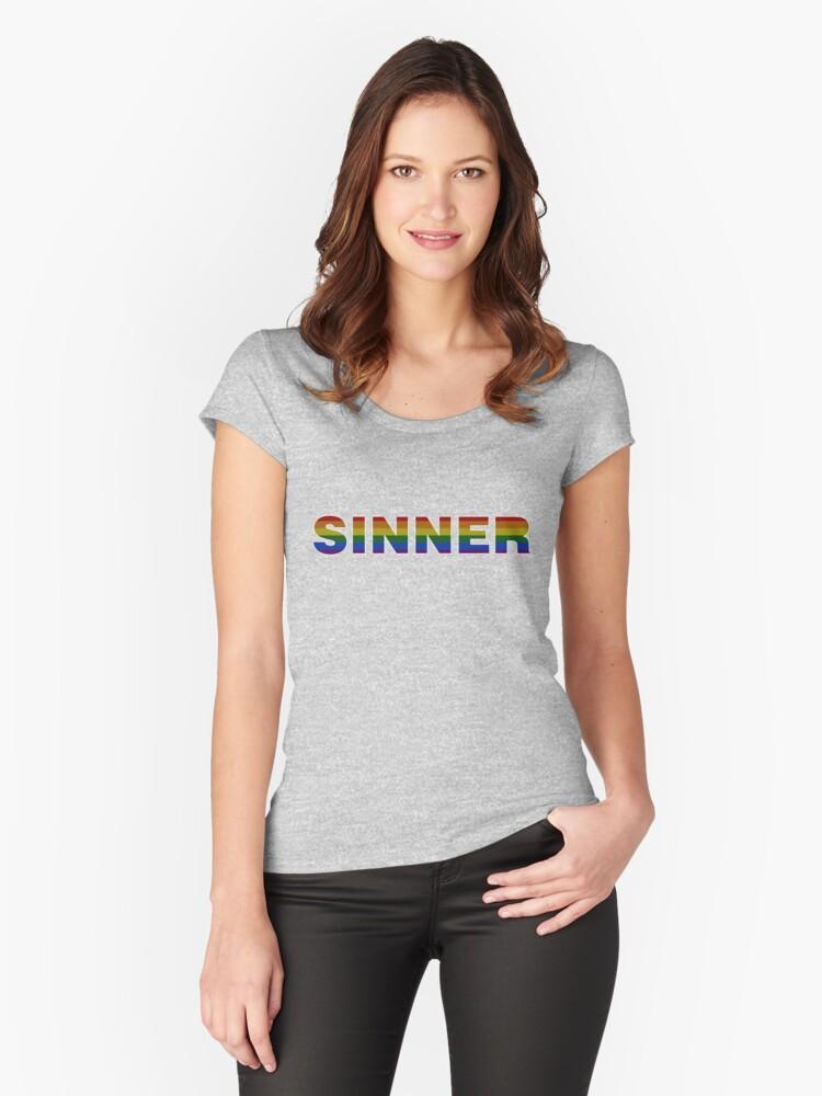 SINNER gay flag (light) Women's Fitted Scoop T-Shirt Front