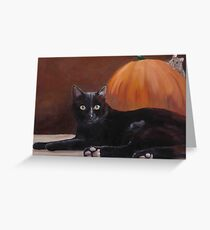 Sneak Peek Black Cat & Pumpkin Greeting Card