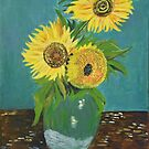 Vase with Three Sunflowers, Van Gogh art reproduction by naturematters