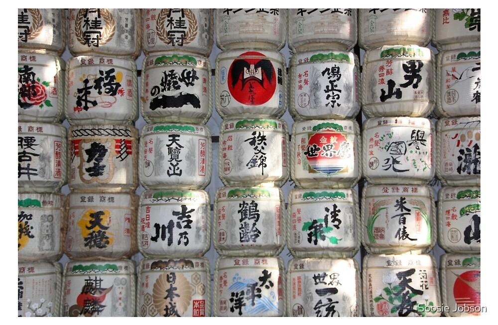 Sake Barrels Tokyo Japan by Soosie Jobson