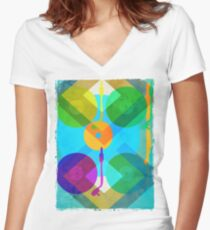 Abstract Vinyl Record Turntable Women's Fitted V-Neck T-Shirt