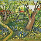 View of Arles with Trees in Blossom, Van Gogh art alteration by naturematters
