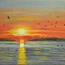 Sunset with Seabirds Flying over the Sea. by naturematters