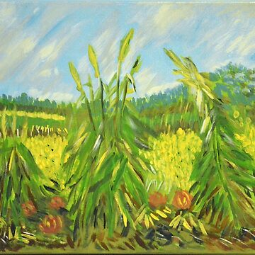 Green Ears of Wheat, Van Gogh art alteration by naturematters