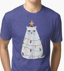 Grumpy Christmas Cat Tri-blend T-Shirt