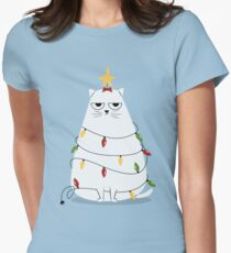 Grumpy Christmas Cat Women's Fitted T-Shirt