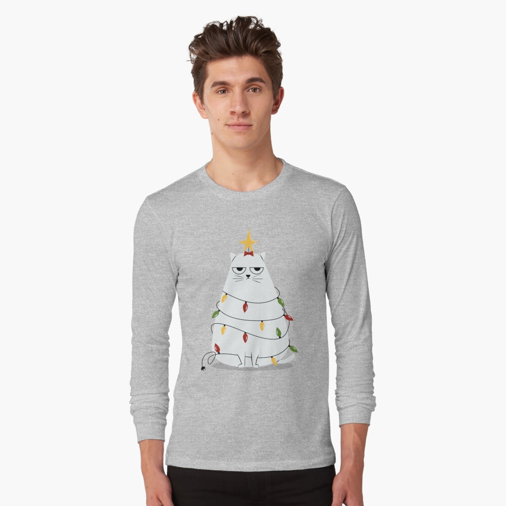 Grumpy Christmas Cat Long Sleeve T-Shirt