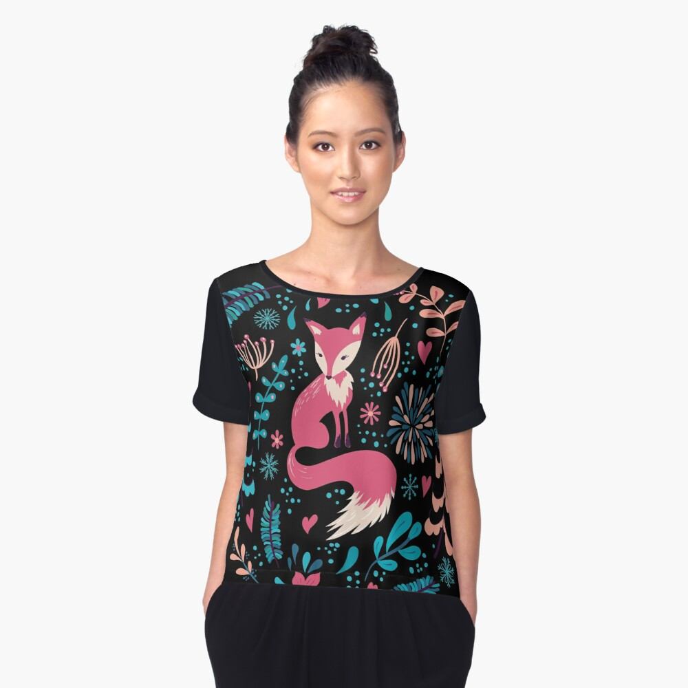 Fox with winter flowers and snowflakes Women's Chiffon Top Front