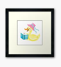 Mother duck reading story time Framed Print