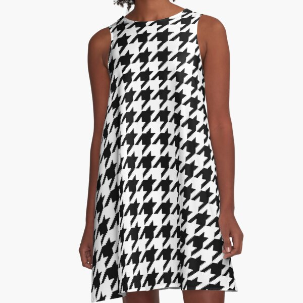 Houndstooth Pixel Pattern – A Line Dress A-Line Dress