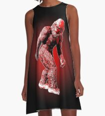 Bigfoot Sasquatch Walking Stylized Black and Red A-Line Dress