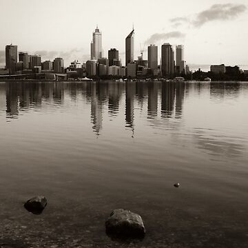 Perth City Skyline in Duotone by martybugs