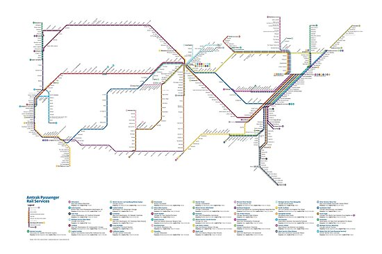 US Rail Network As A Subway Map Posters By Cameron Booth - Map of us rail network