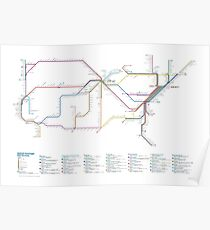 U.S. Rail Network as a Subway Map Poster