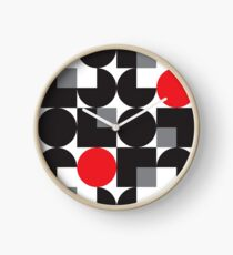 Black Modernist Pattern Clock