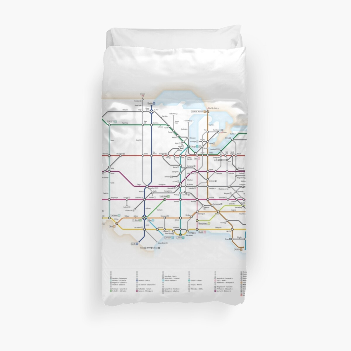 'U.S. Interstate Highways as a Subway Map' Duvet Cover by Cameron Booth