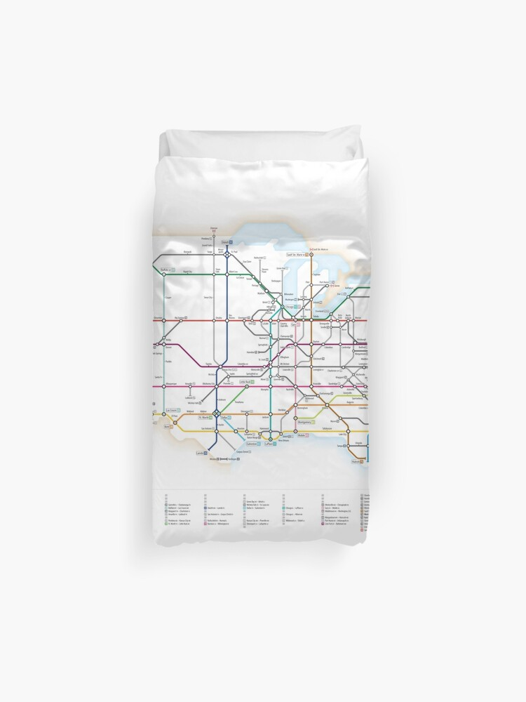 Us Highway As A Subway Map.U S Interstate Highways As A Subway Map Duvet Cover