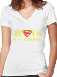 Jesus Is My Superhero Women's Fitted V-Neck T-Shirt