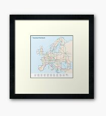 European E-Road Network as a Subway Map Framed Print