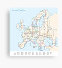 European E-Road Network as a Subway Map Canvas Print