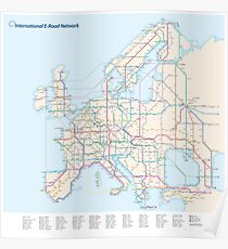 European E-Road Network as a Subway Map Poster