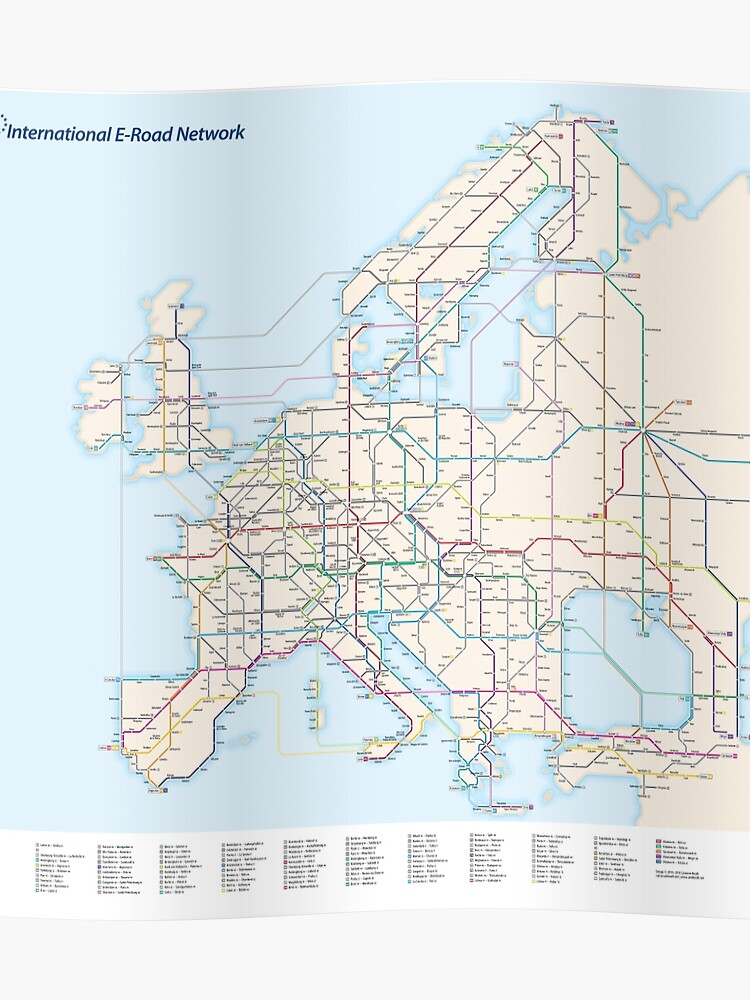 As A Subway Map.European E Road Network As A Subway Map Poster