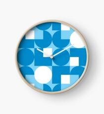 Blue Modernist Pattern Clock