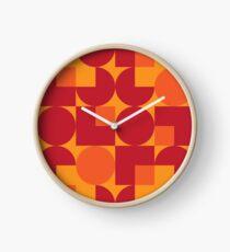 Orange Modernist Pattern Clock