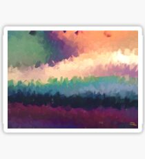 abstract expressionist landscape green Sticker