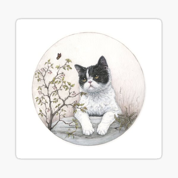 Chinese cat with butterfly Sticker