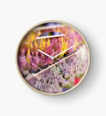 Shop shelves with blooming ling flowers Clock