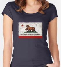 New California Republic Flag Women's Fitted Scoop T-Shirt