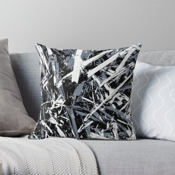 Straw-black-and-blue Throw Pillow