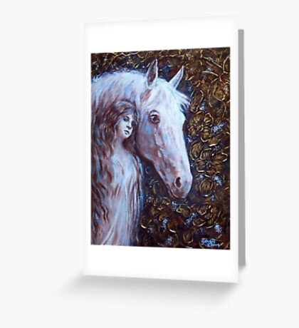 White Horse Beauty Greeting Card